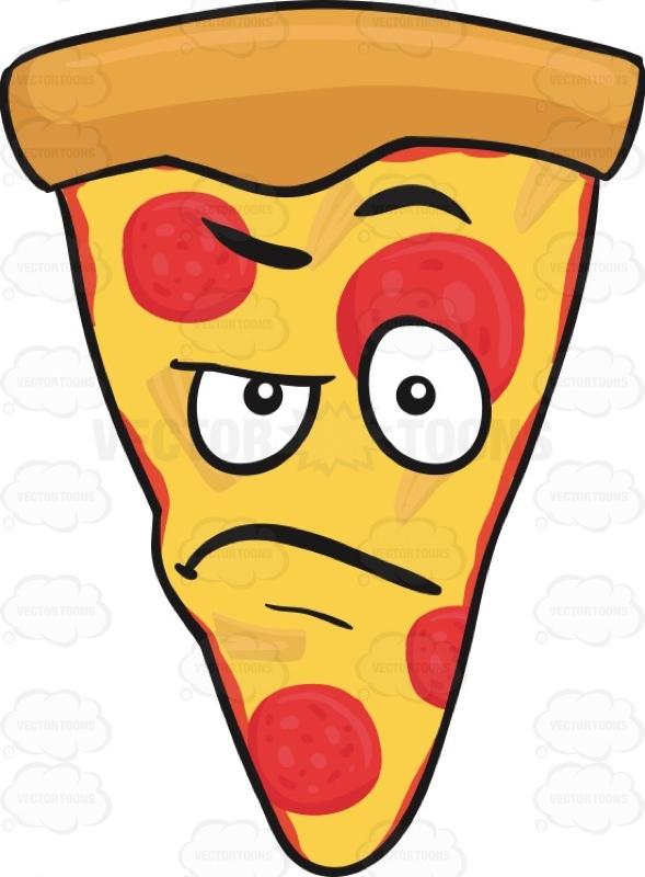Angry Slice Of Pepperoni Pizza Emoji Cartoon Clipart.