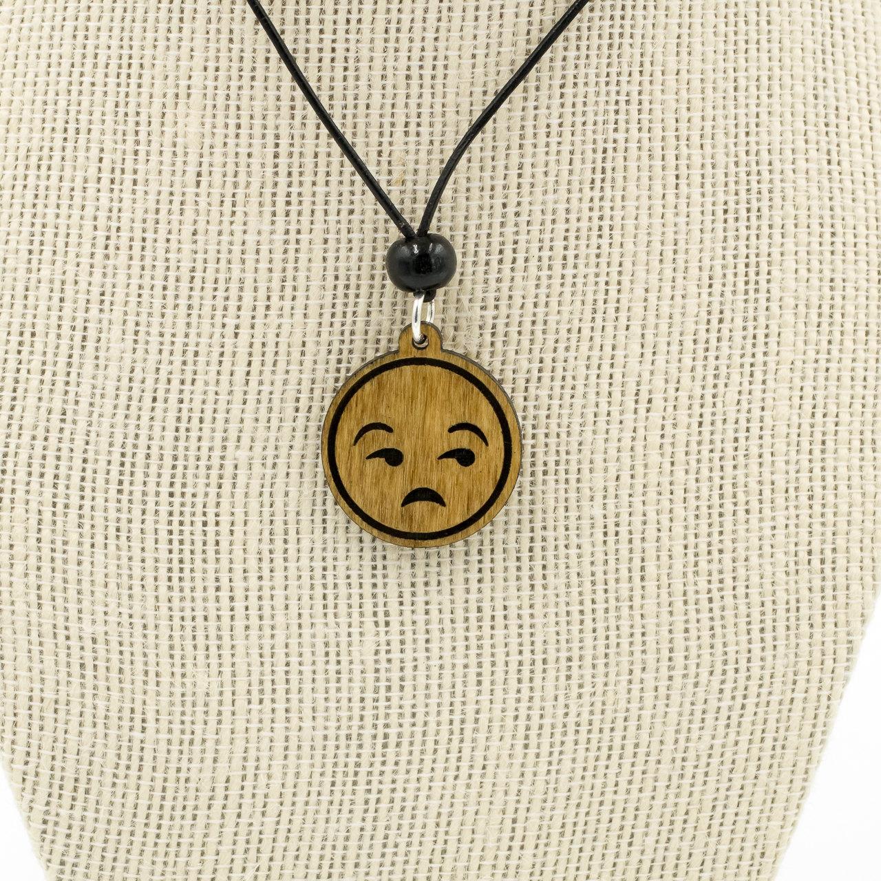 Unamused Emoji Wooden Charm Necklace Eye Roll Emoji Carved.