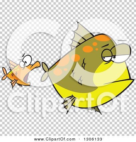 Clipart of a Cartoon Unamused Big Green Fish Looking Back at an.