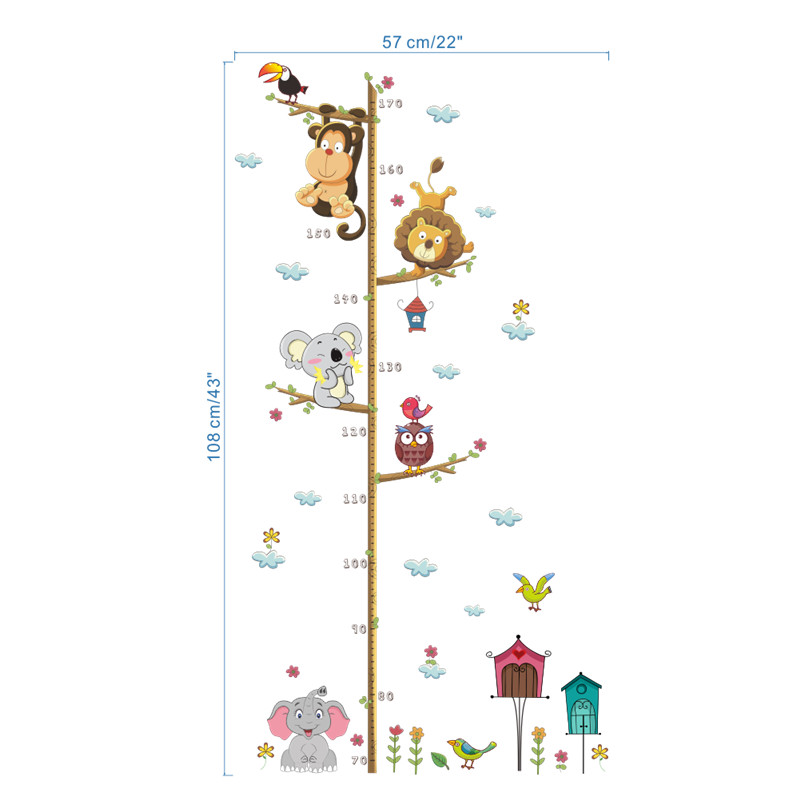 Cartoon Animals Lion Monkey Owl Elephant Height Measure Wall.
