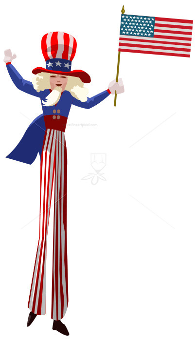 Uncle Sam With Flag.