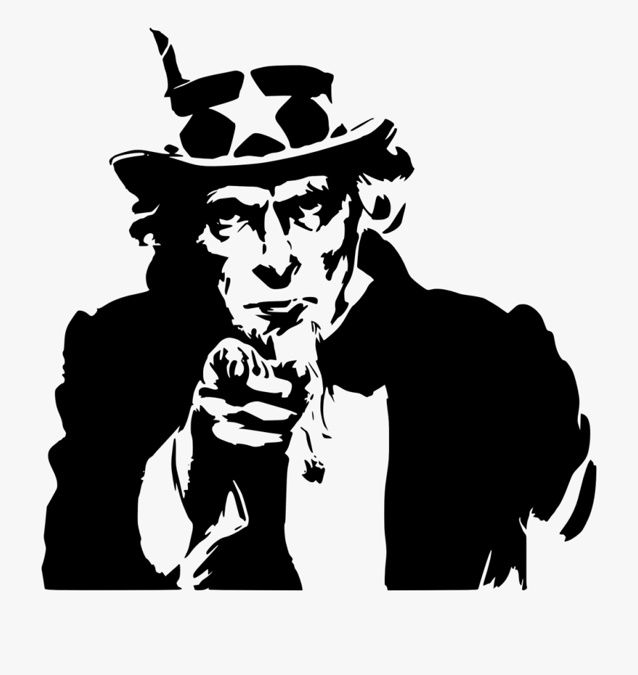 Want You Uncle Sam Black And White , Transparent Cartoon.