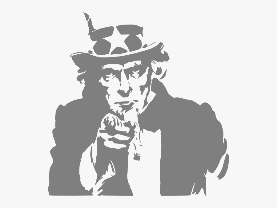 We Want You Uncle Sam Black , Free Transparent Clipart.