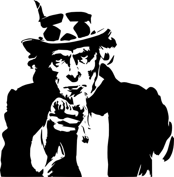 Uncle Sam Pointing clip art Free vector in Open office.