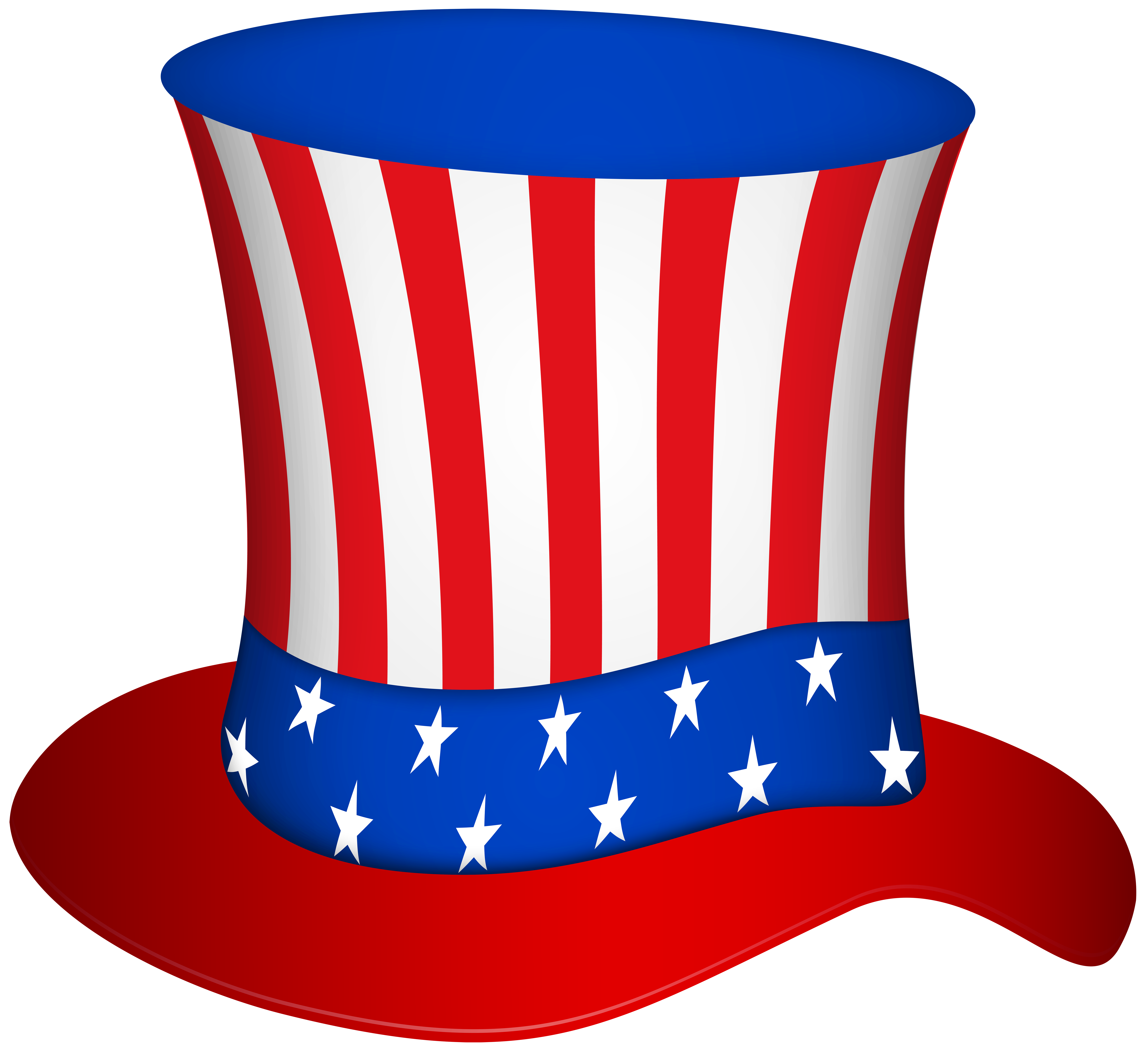 Uncle Sam Hat PNG Transparent Clip Art Image.