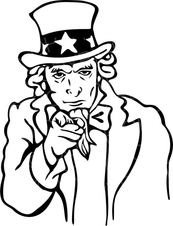Black & White Line Drawing of Uncle Sam Pointing Prawny Clip.