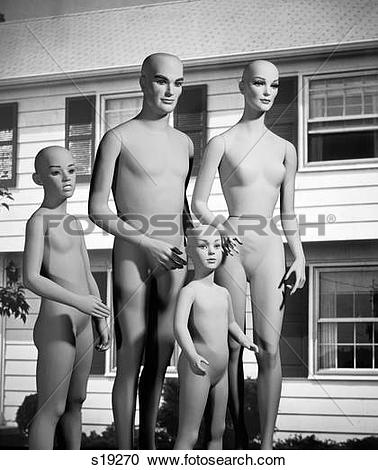 Stock Photography of 1980S Family Of Unclothed Mannequins Standing.