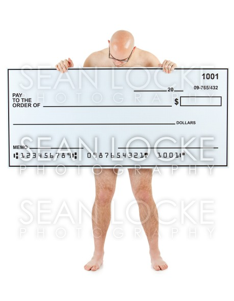Check: Unclothed Man Reads Blank Check.