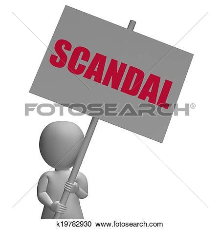 Stock Photography of Scandal Protest Sign Means Political.