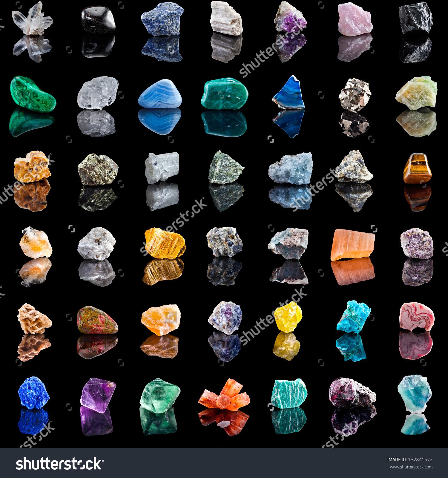 Collection Set Semiprecious Gemstones Stones Minerals Stock Photo.