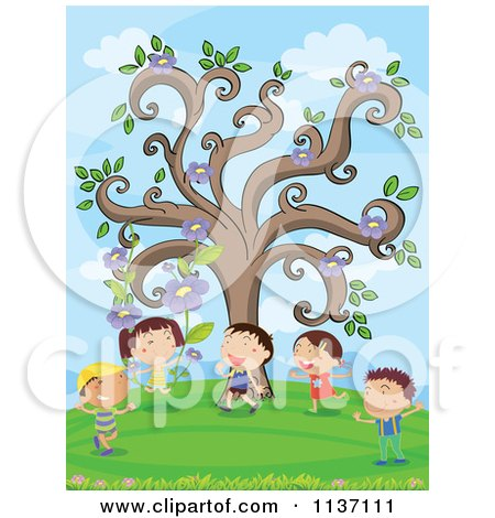 Cartoon Of Children Under A Flower Tree.