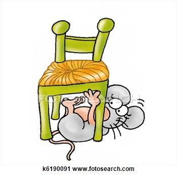 Cat under the table clipart.