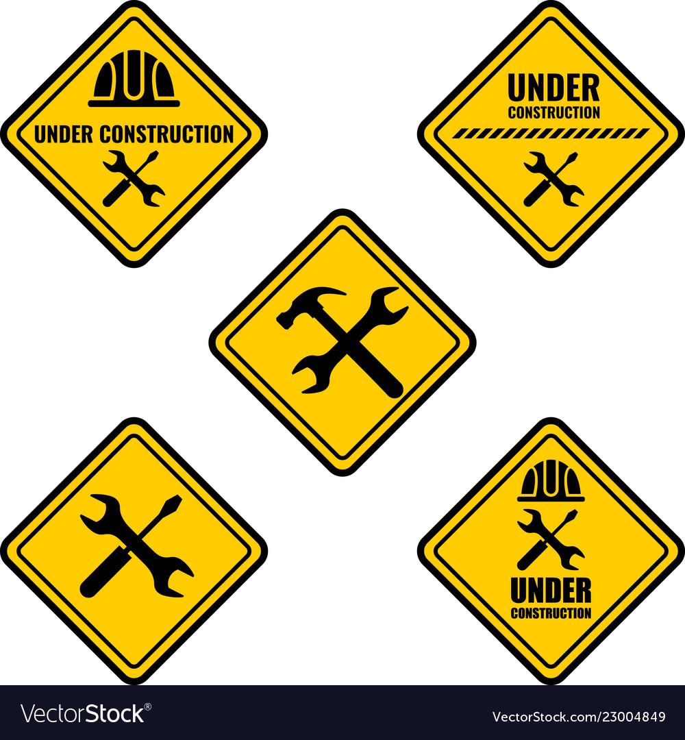 Warning sign under construction logo.