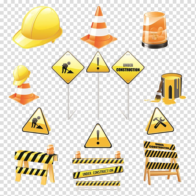 Illustration of hard hat, traffic cone, signages, and beacon.