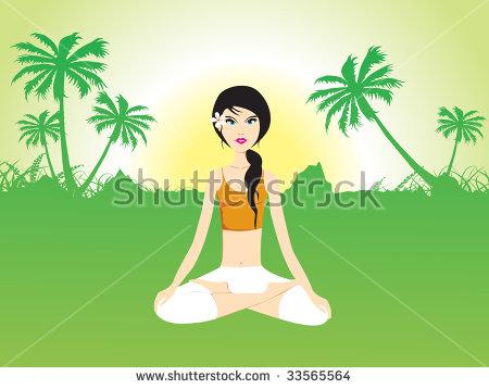 Female Doing Yoga Under Open Sky, Wallpaper Stock Vector.