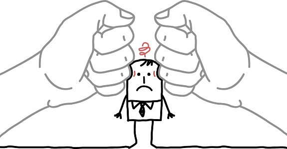 Big Hands and Cartoon Businessman Under Pressure premium.
