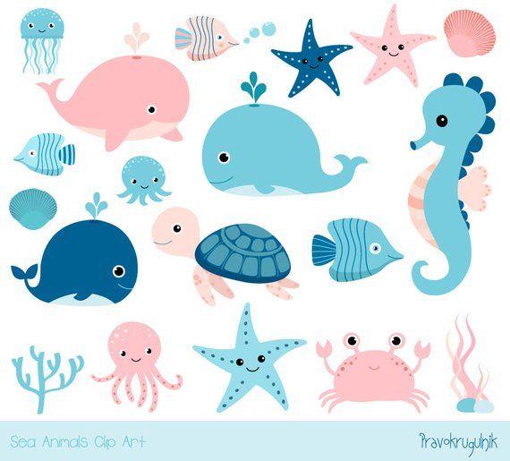 Cute sea animal clipart, Kawaii ocean clipart, Baby girl.