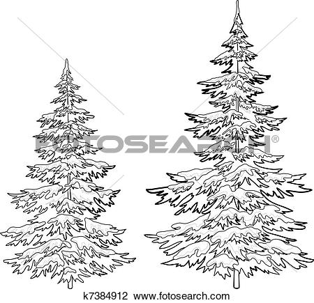 Clipart of Christmas trees under snow, contours k7384912.