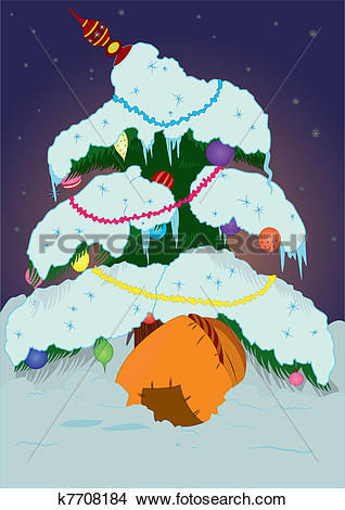 Clipart of Christmas tree under snow k7708184.