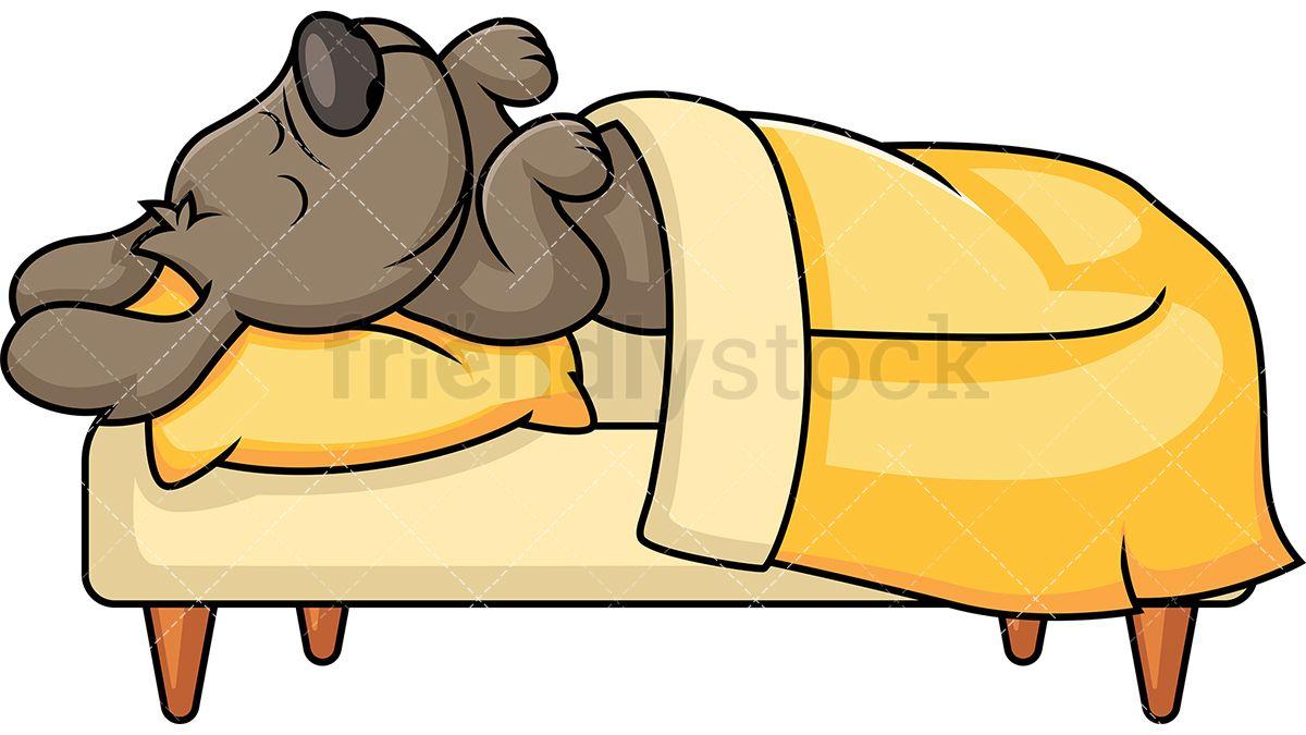 Cute Dog Sleeping In Bed.