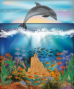 Underwater wallpaper with Dolphin and sand castle, vect.
