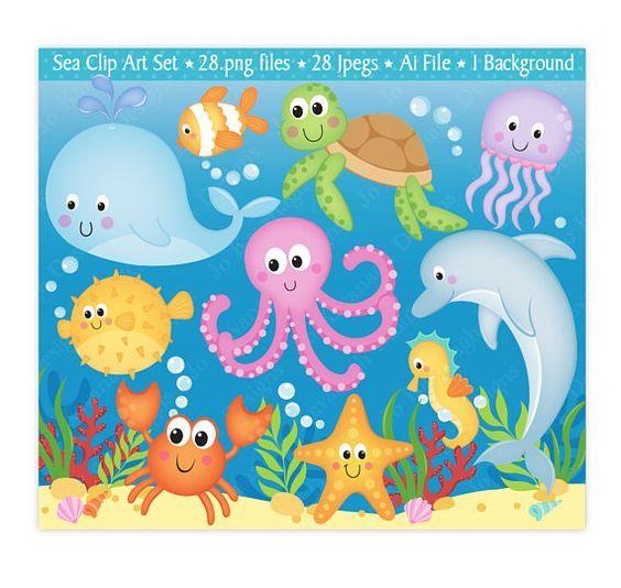 Sea Animals Clip Art,Under The Sea Clipart,Under The Sea.