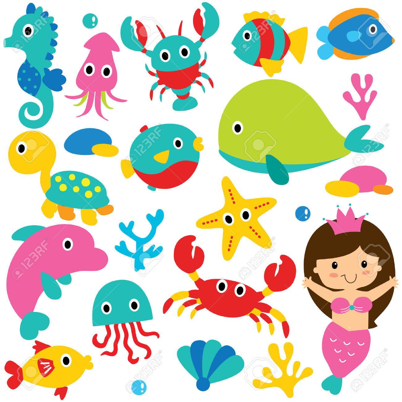 Cute Sea Animals Clip Art Set Royalty Free Cliparts, Vectors, And.