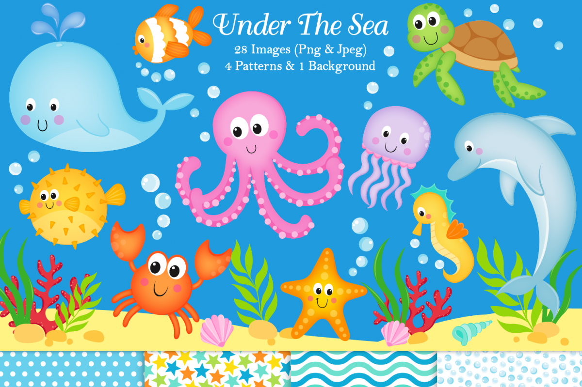 Under the sea clipart, Under the sea graphics & illustration.