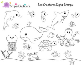 Library of under the sea creatures black and white clip.
