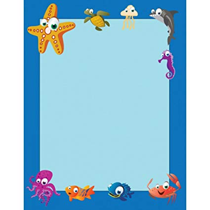 Amazon.com : Pack of 250 Under The Sea Border Paper : Office.