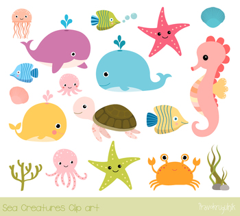 Sea animals clipart, Under the sea clip art set, Seahorse, turtle, whales  crab.