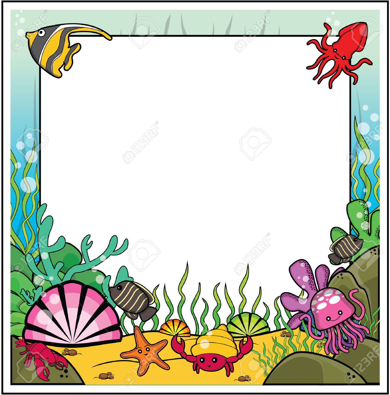 Under The Sea Frame Clipart.