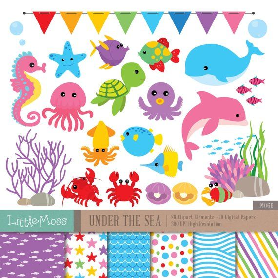 Under The Sea Digital Clipart and Papers, Sea Animals.