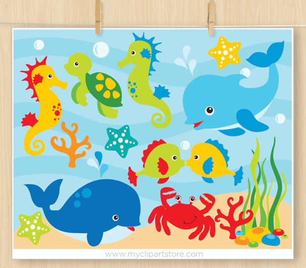 Under The Sea Clipart_Set_1.