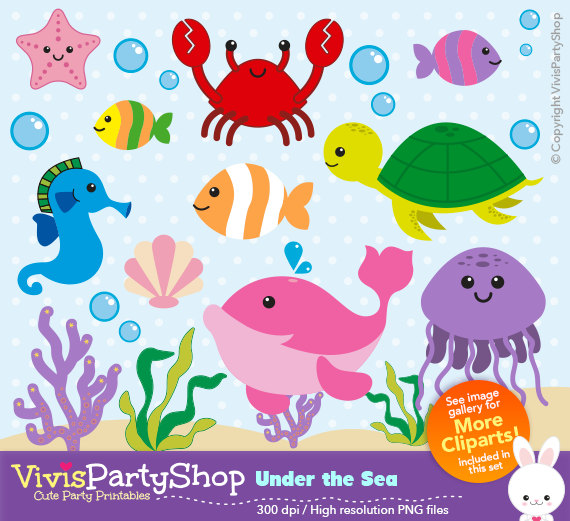 Under the sea Clipart, Printable, Instant download, PNG files.