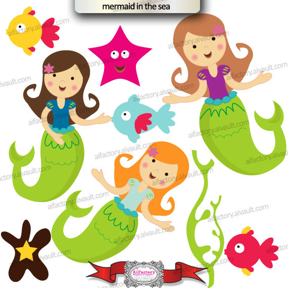 Mermaid Under the Sea Clipart.