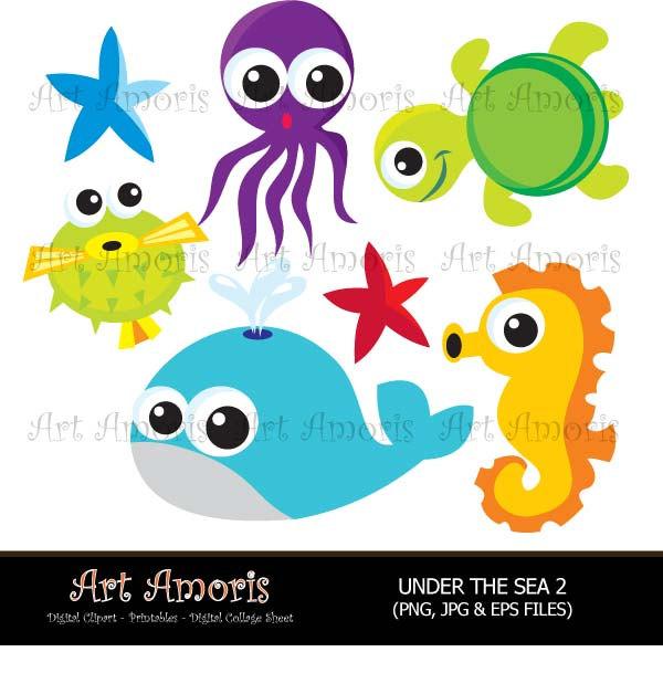 Under The Sea fish under water starfish octopus sea.