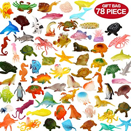 ValeforToy Ocean Sea Animals, 78Piece Mini Sea Life Creatures Toys Set,  Plastic Underwater Sea Animals Learning Toys for Boys Girls Kids Toddlers.