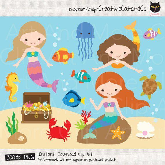 Under the Sea Clipart Little Mermaid Clipart Mermaid Clipart.