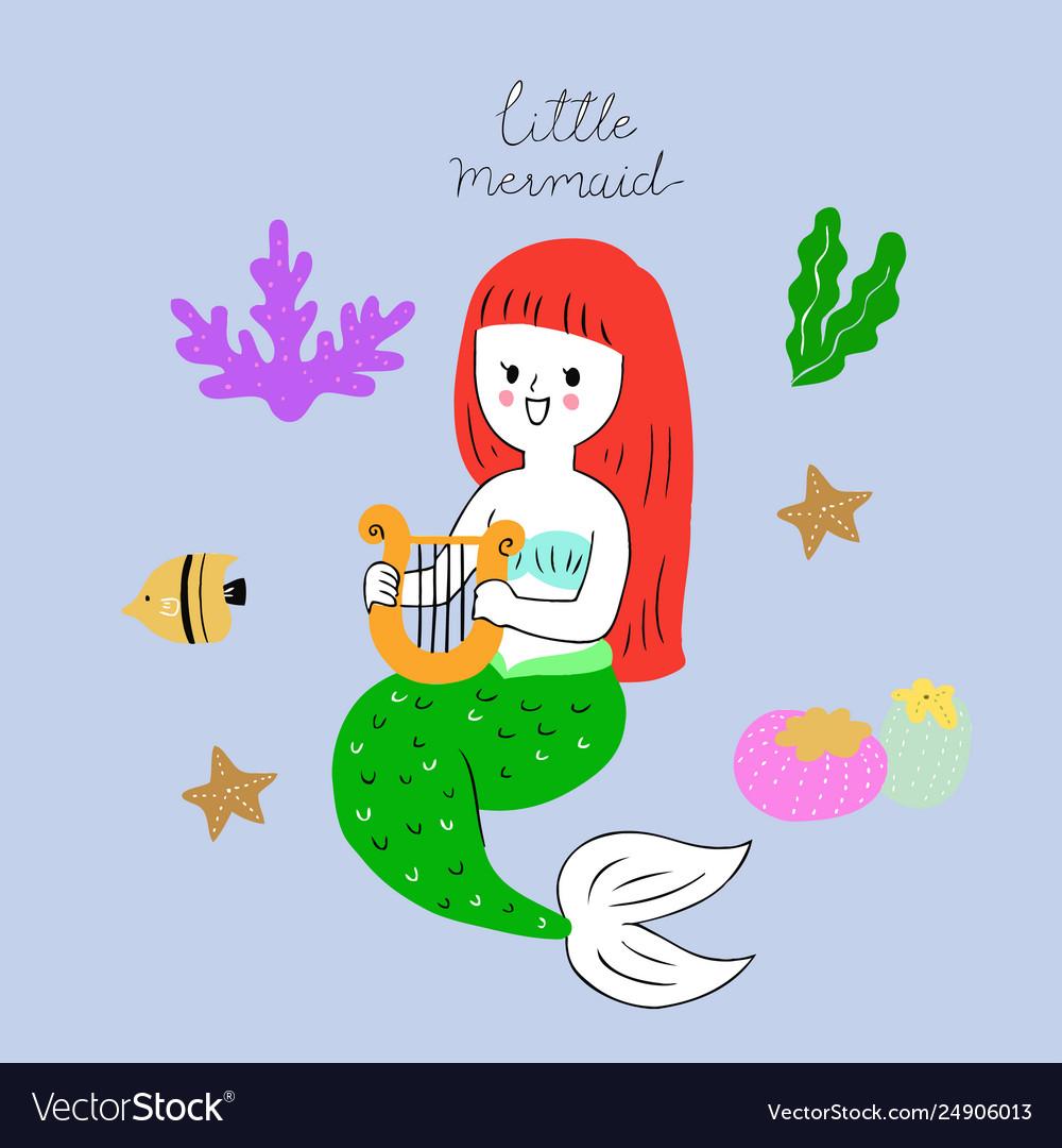 Cartoon cute mermaid under sea.