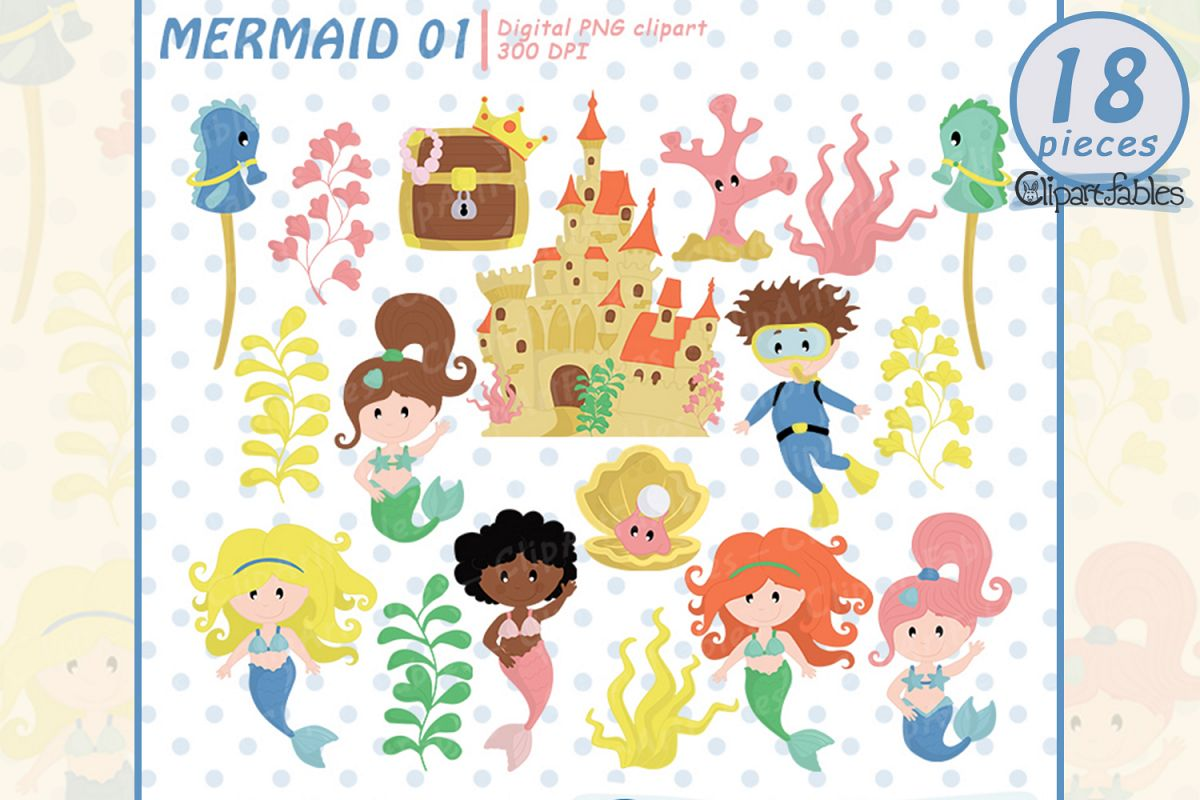 Mermaid clipart, Cute under the sea art, instant download.