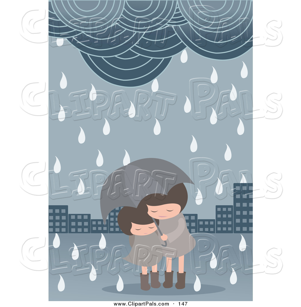Pal Clipart of a Pair of Girls Under an Umbrella in a Spring.