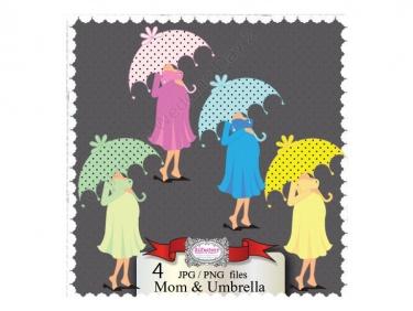 Mom under umbrella baby shower clipart.