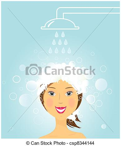 Drawing of girl washing hair under shower.