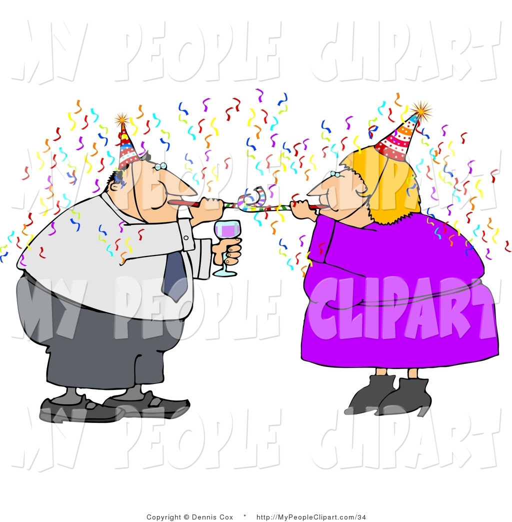 Clip Art of a Happy New Year Business Couple Partying with Wine.