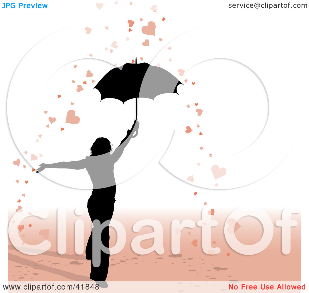 Clipart Illustration of a Black Silhouetted Woman Under An.