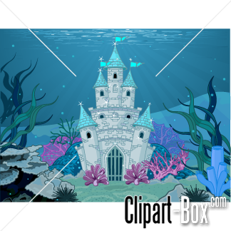CLIPART UNDERWATER MERMAID CASTLE.