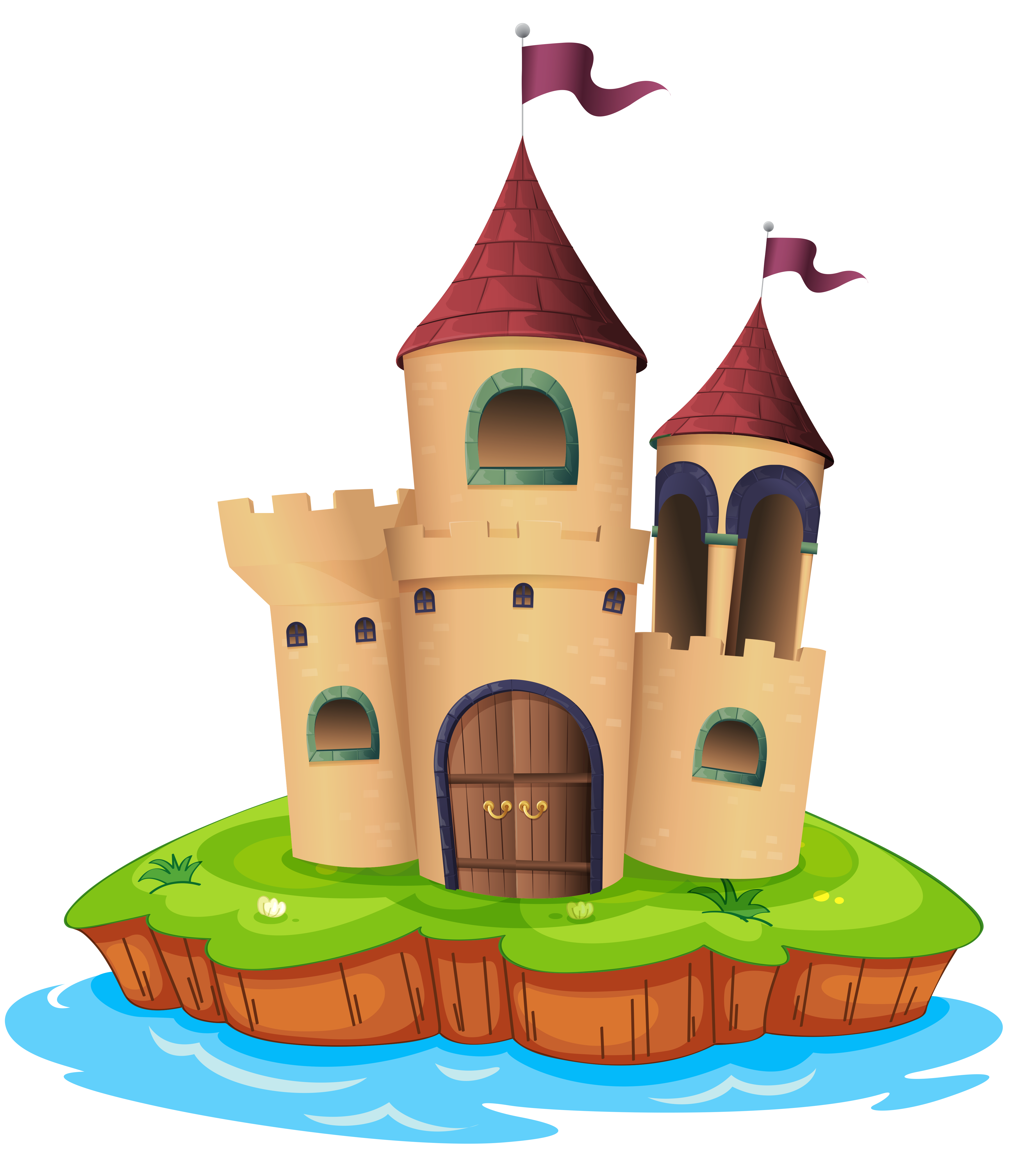 Transparent Castle and Water PNG Picture.