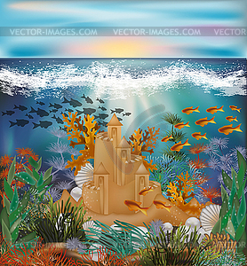 Underwater tropical wallpaper with sand castle, vector.