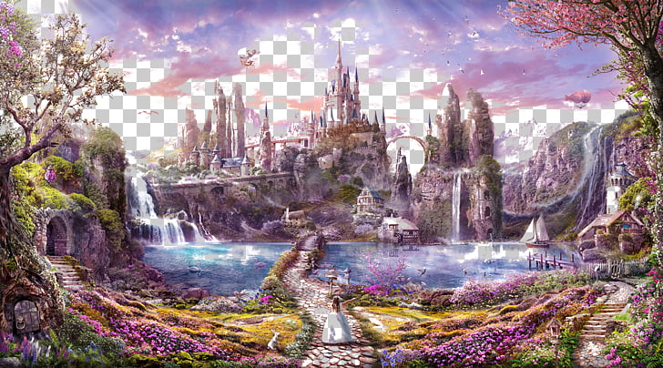 Cartoon , Cartoon fantasy castle background alpine Figure.